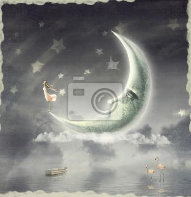 L'illustration montre la jeune fille qui admire le ciel étoilé