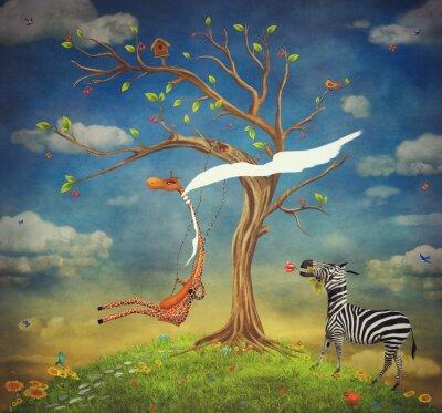 L'illustration montre les relations romantiques entre une girafe et un zèbre
