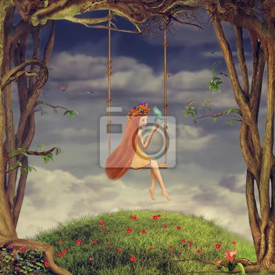 La belle fille secoue sur une balançoire dans la forêt