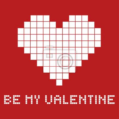 La carte-cadeau pour une Saint Valentin dans le style pixel art, vecteur