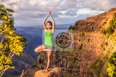 La femme séreuse de yoga qui médite en faisant un arbre pose Vriksasana sur le paysage de montagne. Femme pratiquant la méditation au coucher du soleil, mode de vie sain et actif.