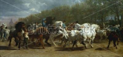 Image LA FOIRE DU CHEVAL, de Rosa Bonheur, 1852-1855, peinture française, huile sur toile. Le marché aux chevaux à Paris sur le boulevard de lx90Hopital a été peint sur une période de 3 ans. Lorsque vous de