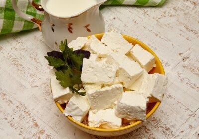 Image la nourriture saine. Cottage, fromage, lait, blanc, bois, fond