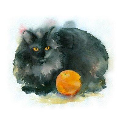 Image La peinture à l'aquarelle. Chat noir avec orange.