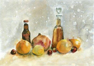 Image La peinture à l'aquarelle. Nature morte avec des oranges, grenade et bouteilles sur fond vintage.