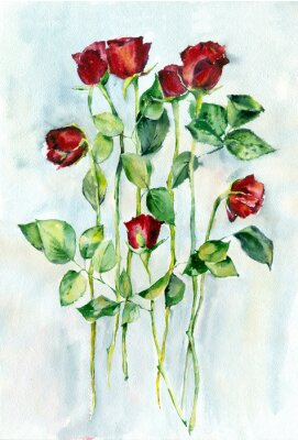 Image La peinture à l'aquarelle. Roses rouges avec des feuilles vertes sur une longue tiges.