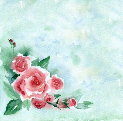Image La peinture à l'aquarelle. Vintage bouquet de roses rouges sur un fond flou vert.