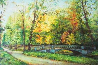 Image La peinture à l'huile originale pont dans la forêt
