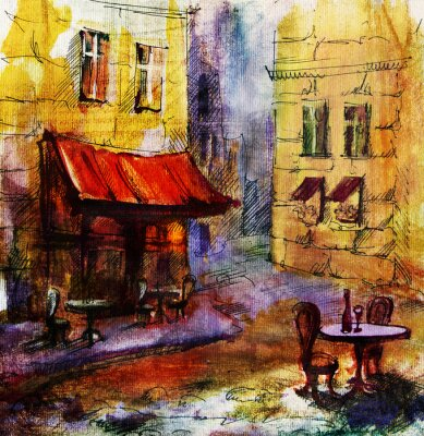 Image La peinture en plein air café européen français, dessin graphique en couleurs