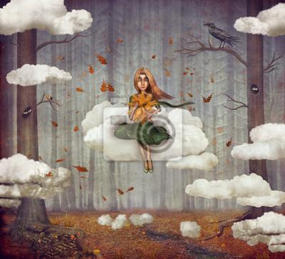 La petite fille est assise sur un nuage dans la forêt d'automne. Beau, nature, fond