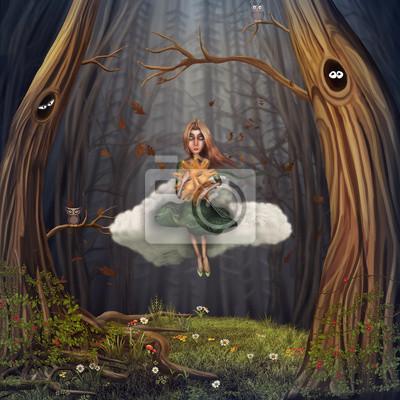 La petite fille est assise sur un nuage et dans la forêt d'automne