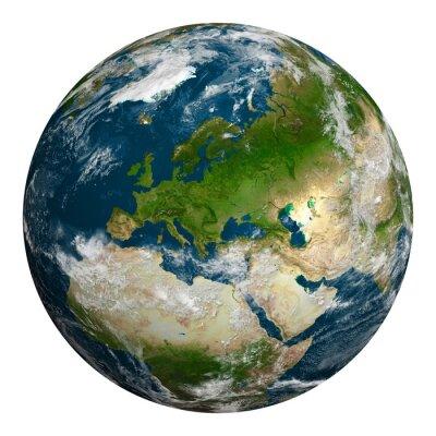 Image La planète Terre avec des nuages. L'Europe, une partie de l'Afrique et de l'Asie.