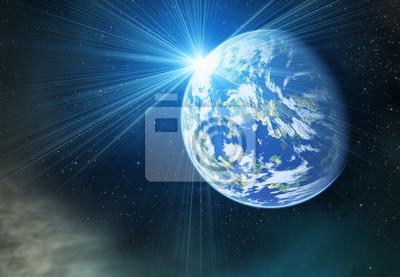 la planète terre avec flash sur cosmos étoiles milieux