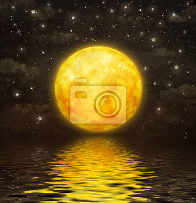 La pleine lune se reflète dans l'eau ondulée, illustration art
