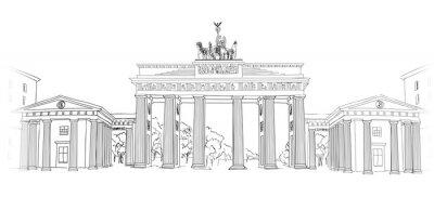 Image La porte de Brandebourg. Symbole de l'arc de Berlin. Main, dessiné, crayon, croquis, vecteur, Illustration, isolé, blanc, fond