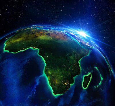 Image la superficie des terres en Afrique, la nuit
