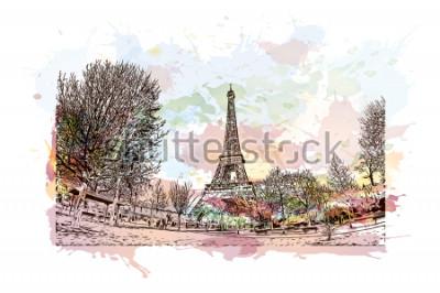 Image La tour Eiffel est une tour en fer forgé sur le Champ de Mars à Paris, en France. Splash aquarelle avec illustration de croquis dessinés à la main en vecteur.