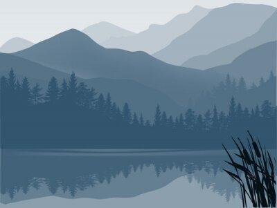 Image lac bleu et gris dans la forêt de montagne