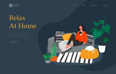 Image Landing page template with girl sitting and resting on the couch with a cat and coffee. Daily life and everyday routine scene by young woman in scandinavian style cozy. Cartoon vector