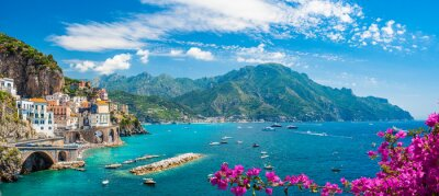 Image Landscape with Atrani town at famous amalfi coast, Italy