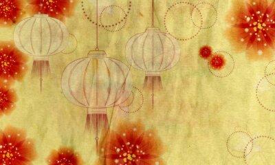Image Lanterne de papier avec des fleurs