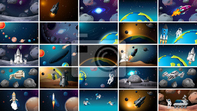 Image Large set of different space scenes