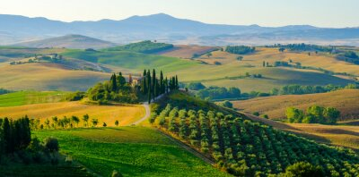 Image Late summer aerial landscape of valley in Tuscany