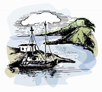 Image Le bateau sur les vagues près du rivage. Yacht illustration. Vue sur la plage. Paysage d'aquarelle. Illustration vectorielle