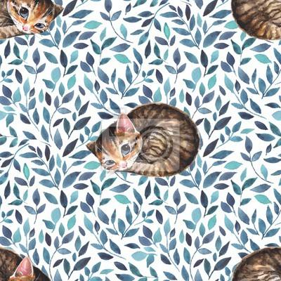 Le chat endormi. Seamless pattern avec mignon chaton. Aquarelle fond 1