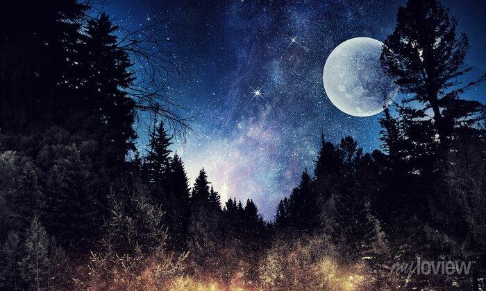 Image Le ciel étoilé et la lune. Médias mélangés