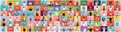 Image Le collage de visages de gens surpris sur des arrière-plans colorés. Heureux hommes et femmes souriants. Émotions humaines, concept d'expression faciale. collage de différentes expressions faciales hu