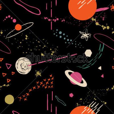 Image Le motif coloré sans faille avec espace, étoiles, galaxies et constellations. Dessinés à la main, fond de recouvrement pour votre conception. Textile, décoration de blog, bannière, affiche, papier d &