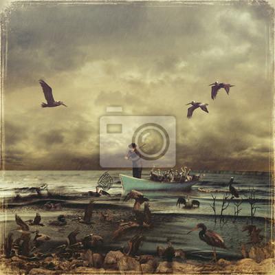 Le pêcheur sauve les oiseaux dans la mer remplis d'huile