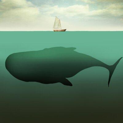 Image Le petit bateau et de la baleine géante