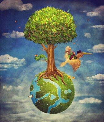 Le petit garçon et le pélican brun volent dans le ciel avec la scène de bois magnifique avec grand arbre et petite planète