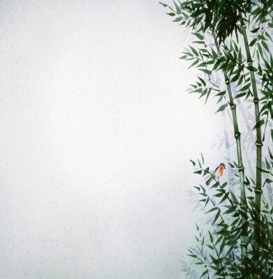 Image Le petit oiseau dans un bosquet de bambous. L'image au style japonais