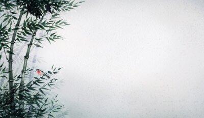 Image Le petit oiseau dans un bosquet de bambous. L'image dans le style japonais