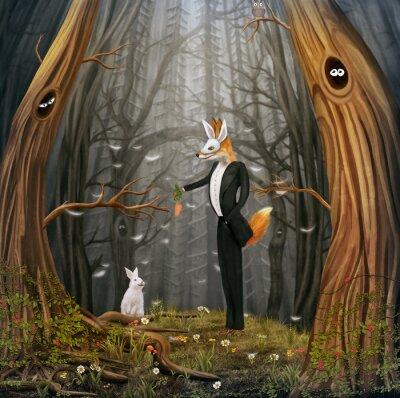 Le renard et le lièvre volent par des ballons multicolores