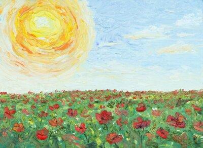 Image Le soleil sur un champ de pavot, peinture, huile sur toile