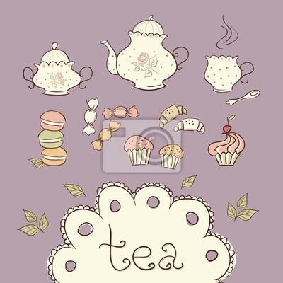 Le thé et bonbons doodle icônes.