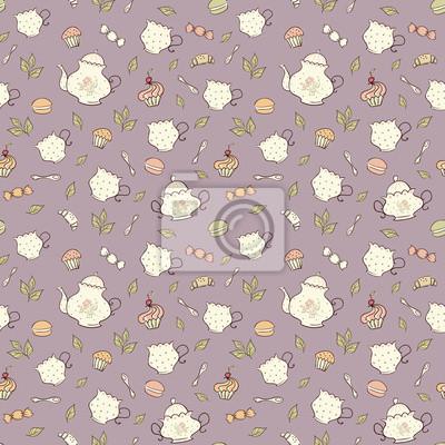 Le thé et bonbons motif doodle transparente.