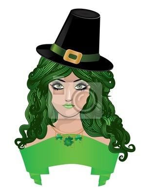 Leprechaun dame au chapeau noir