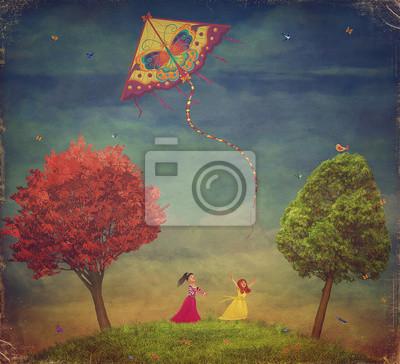 Les jeunes filles parmi les arbres sur le terrain avec le cerf-volant