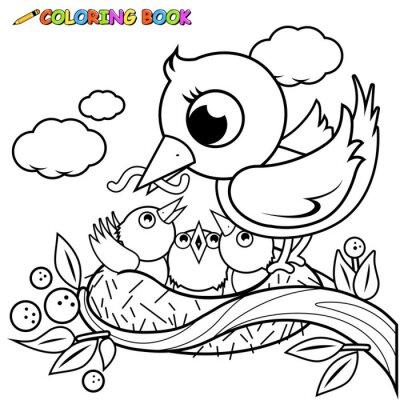 Image Les Oiseaux Mignons Dans La Page Du Livre à Colorier Nid