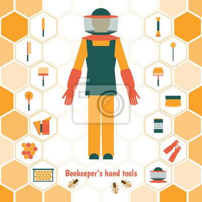 Les outils à main de l'apiculteur, icons set
