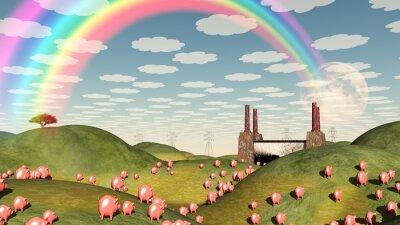 Image Les porcs se déplacent comme des lemmings vers l'usine