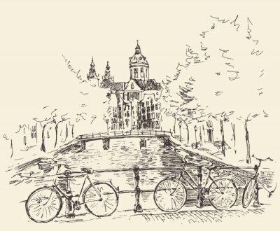 Image Les rues de la ville d'Amsterdam, illustration vectorielle