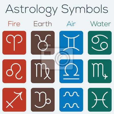 Les signes astrologiques du zodiaque. Appartement icon Thinline symboles.