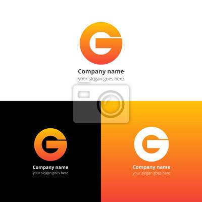 Lettre g logo ou icône avec tendance jaune-orange dégradé couleur ...