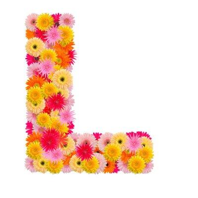 Image Lettre L alphabet avec gerbera isolé sur fond blanc